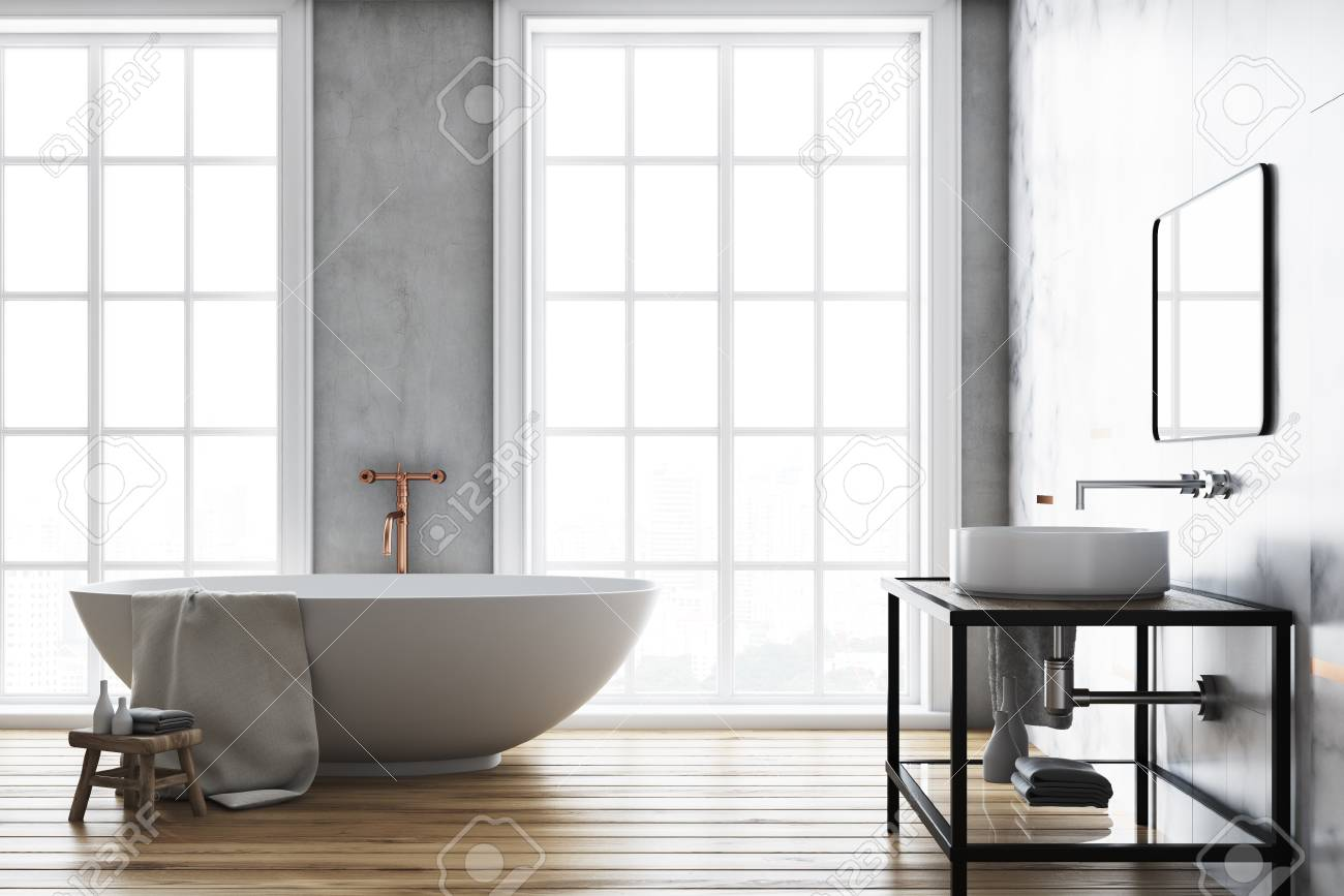 Luxury Bathroom Interior Idea A Wooden Floor A Large Window Stock Photo Picture And Royalty Free Image Image 98044464
