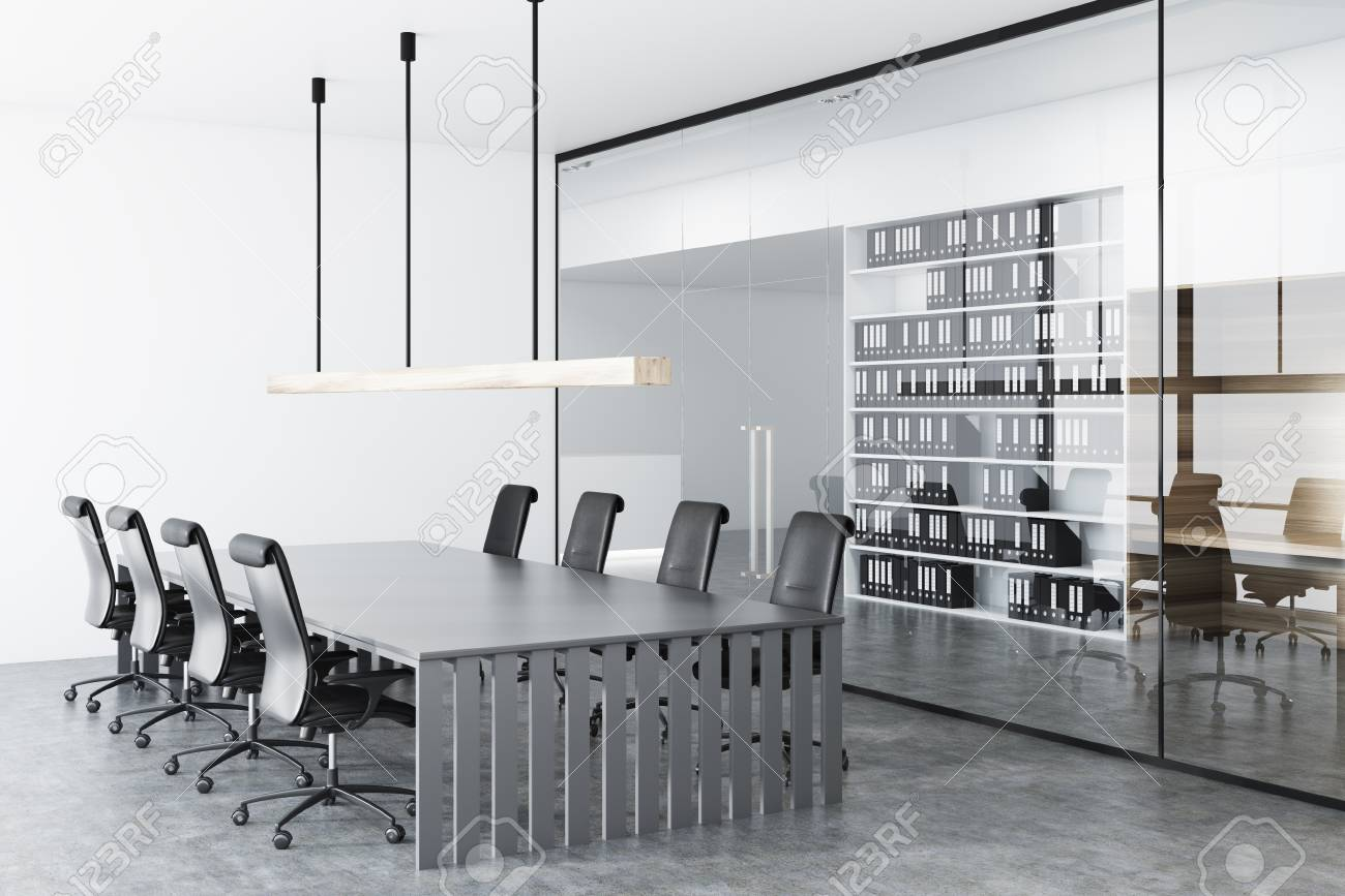 Glass Conference Room Corner With A Long And Gray Table Black - Black conference room table