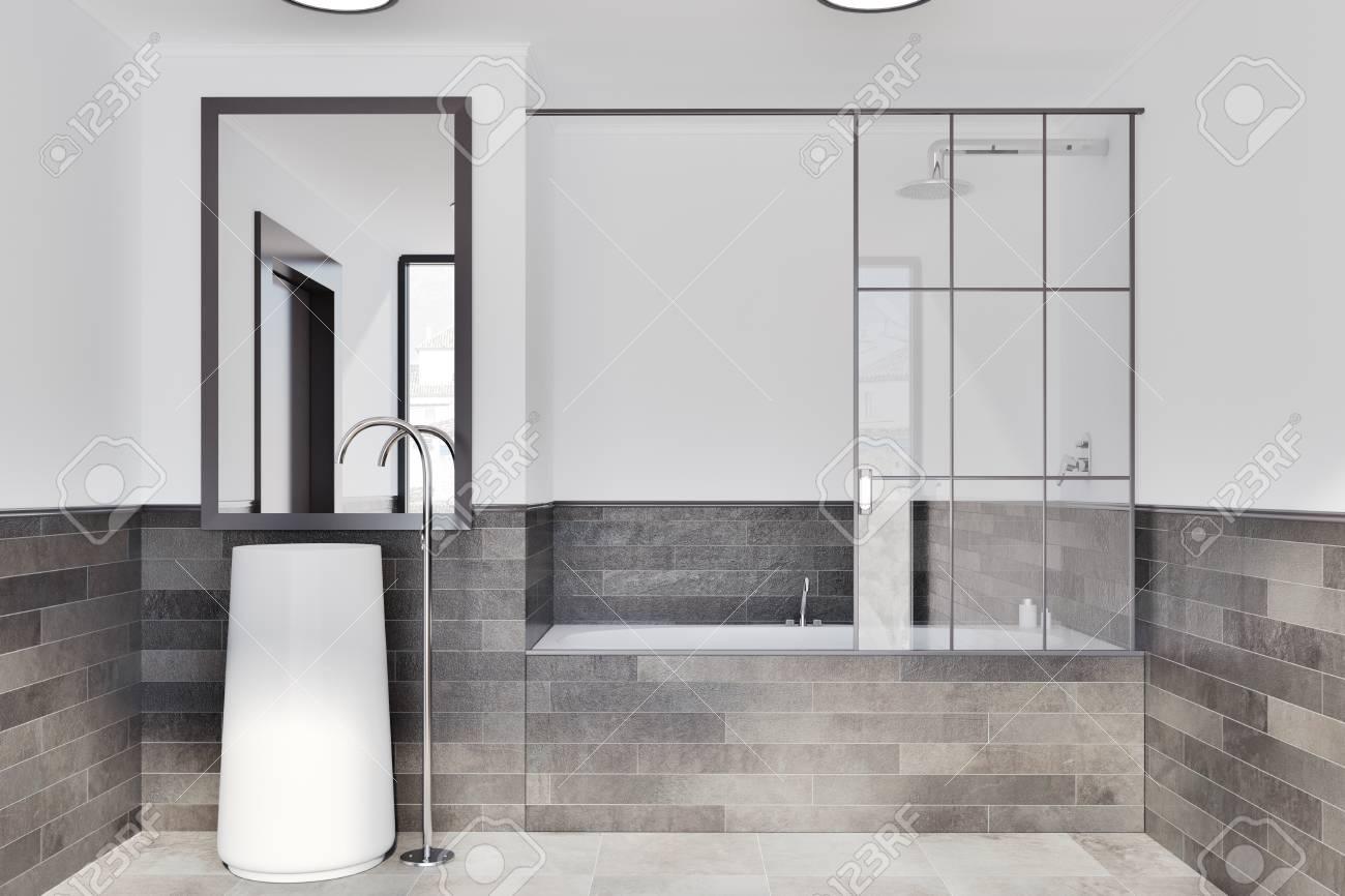 White And Brick Bathroom Interior Idea. A Tiled Floor, A Round ...