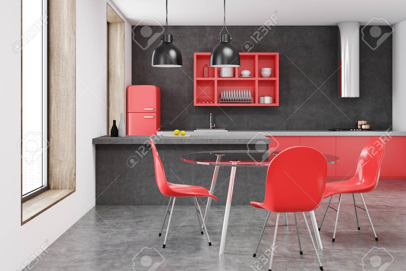 Peachy Red Fridge Kitchen Interior With A Bar Red Shelves Stools And Unemploymentrelief Wooden Chair Designs For Living Room Unemploymentrelieforg