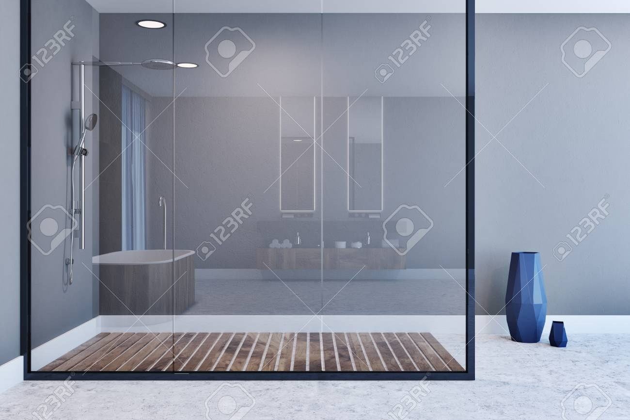 Beau Gray Wall Bathroom Interior With A Concrete Floor, A Shower Stall With A  Glass Wall