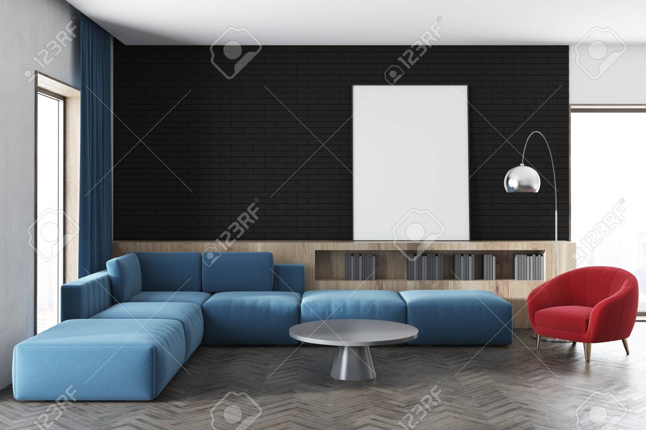 Magnificent Black Wall Living Room Interior With A Blue Sofa A Red Armchair Interior Design Ideas Oxytryabchikinfo