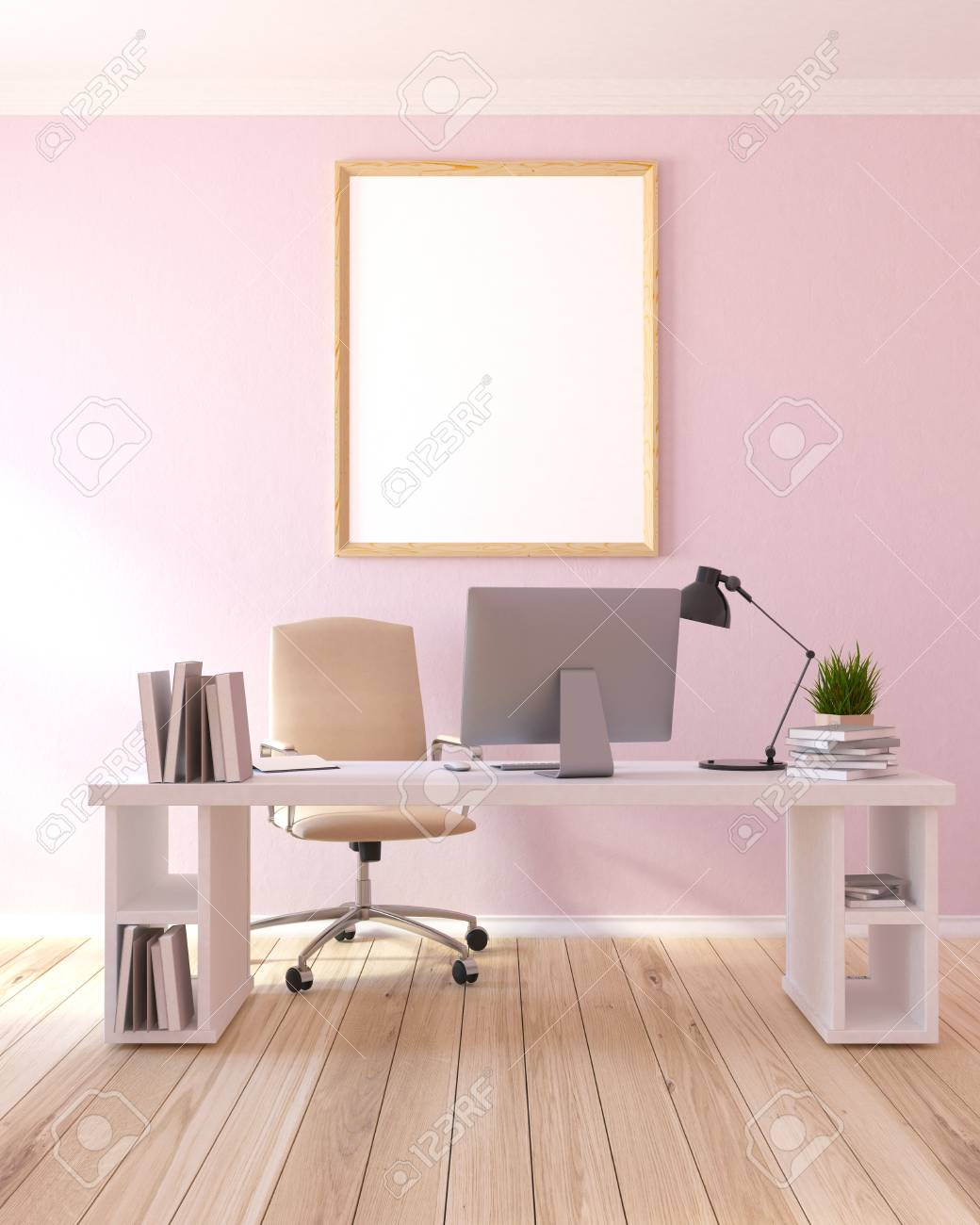 Interior of a modern home office with light pink walls a wooden interior of a modern home office with light pink walls a wooden table with a aloadofball Image collections