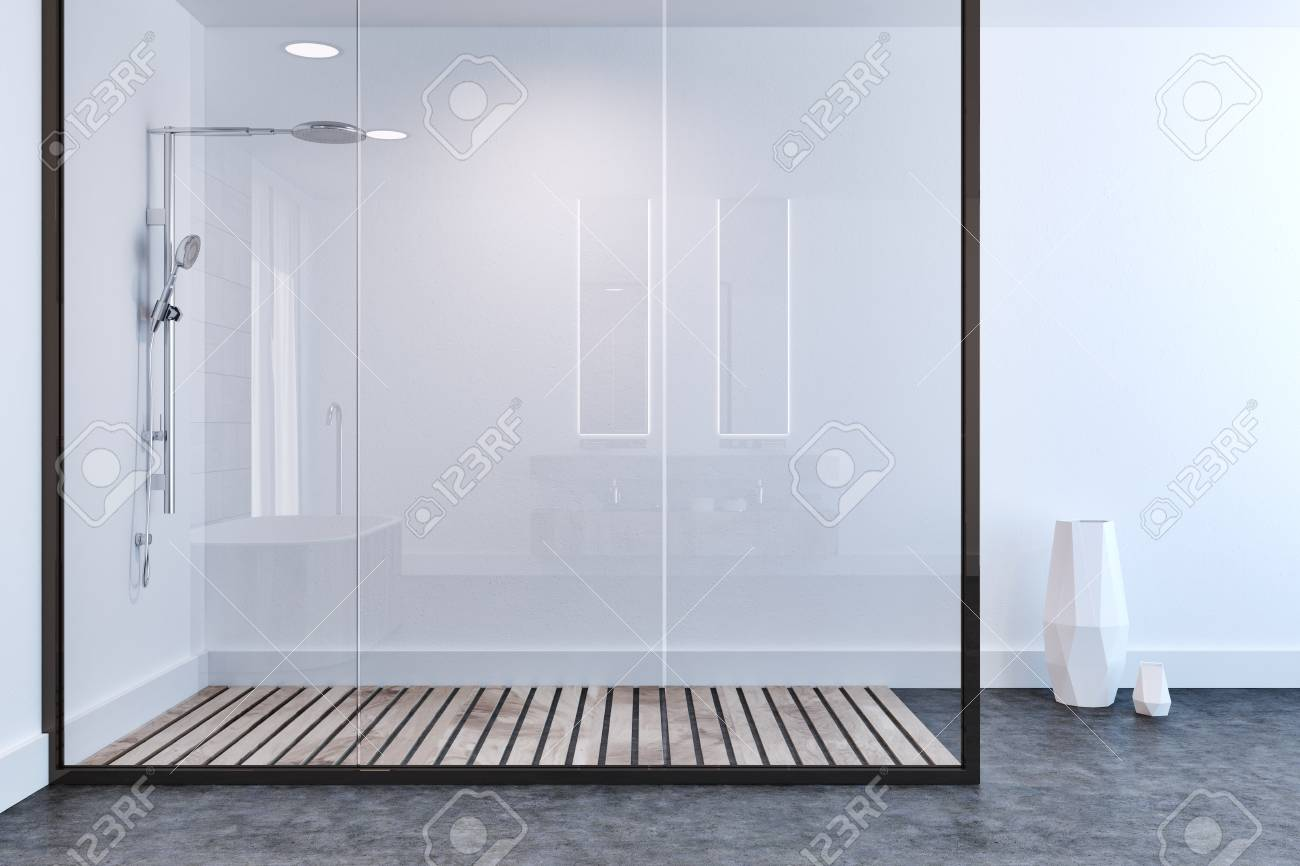 White Wall Bathroom Interior With A Concrete Floor, A Shower.. Stock ...