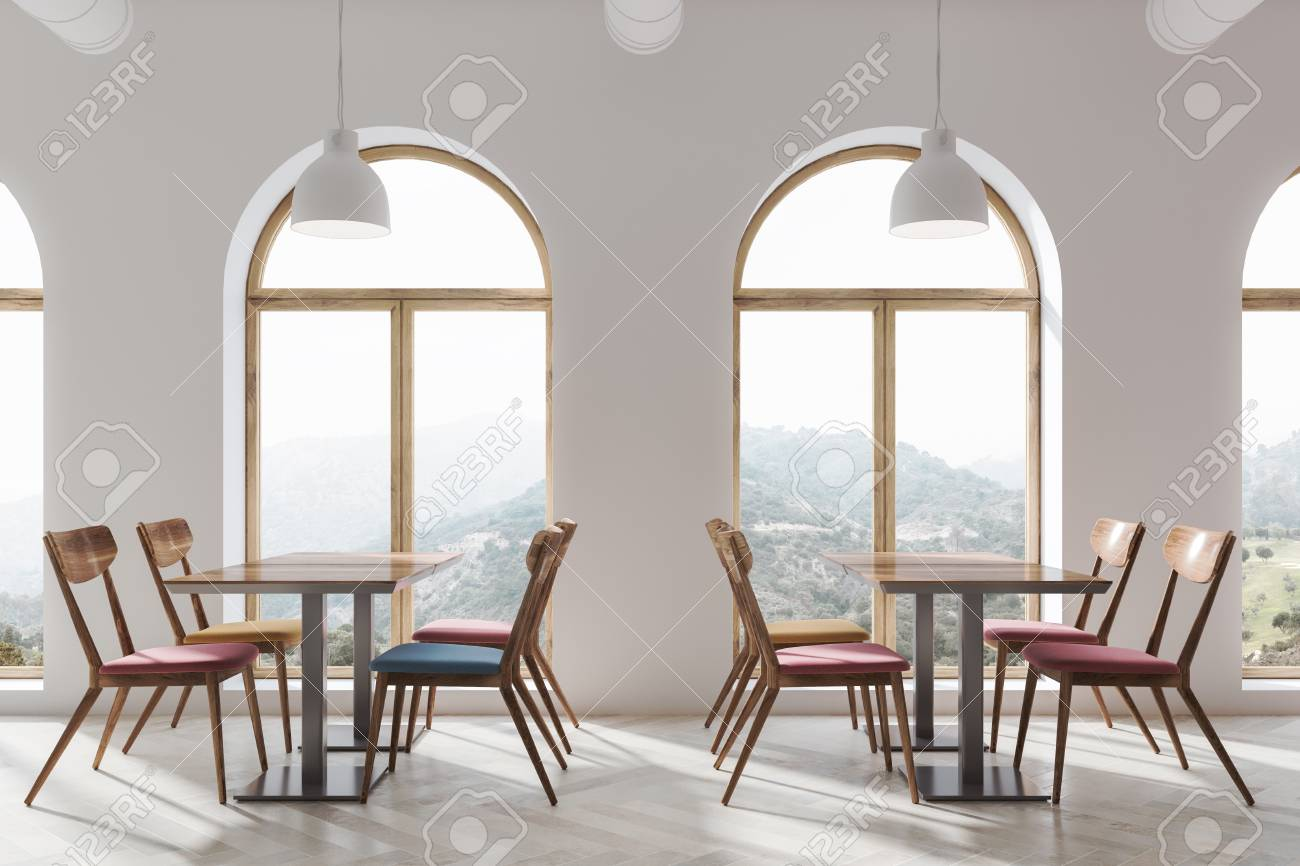 Magnificent Modern White Cafe Interior With A Wooden Floor And Square Tables Alphanode Cool Chair Designs And Ideas Alphanodeonline