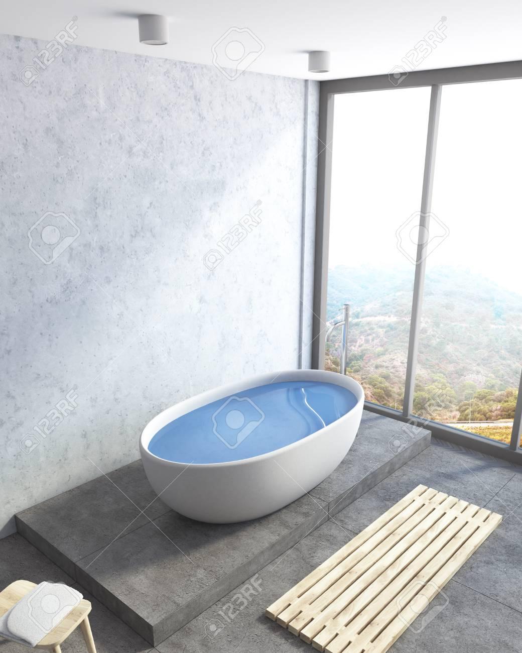Concrete Wall Bathroom Corner With A Concrete Floor, A White.. Stock ...