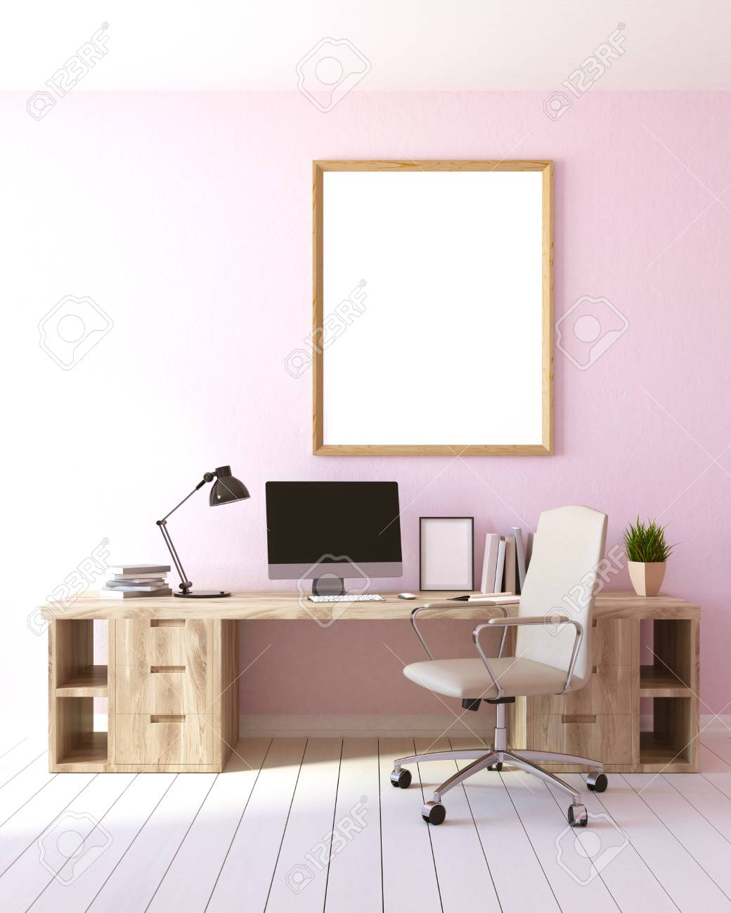 Modern home office interior with light pink walls a white wooden modern home office interior with light pink walls a white wooden floor a computer aloadofball Image collections