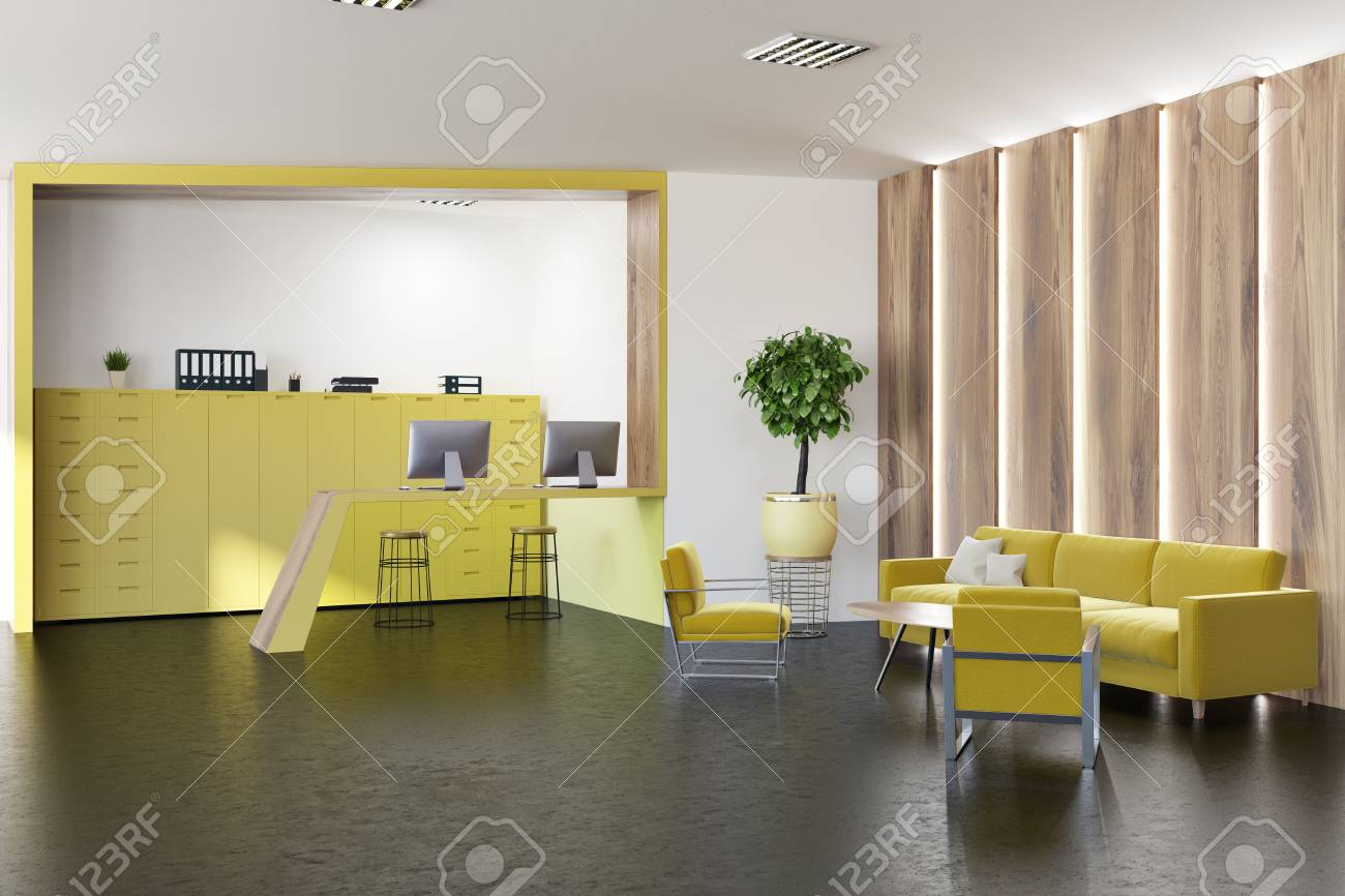Lobby Of A Modern Office With Yellow Sofa And Armchairs, Bookcases ...