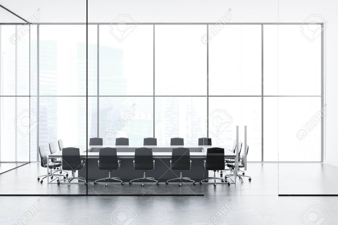 Loft Conference Room Interior With A Boardroom Table Black Chairs - Black conference room table