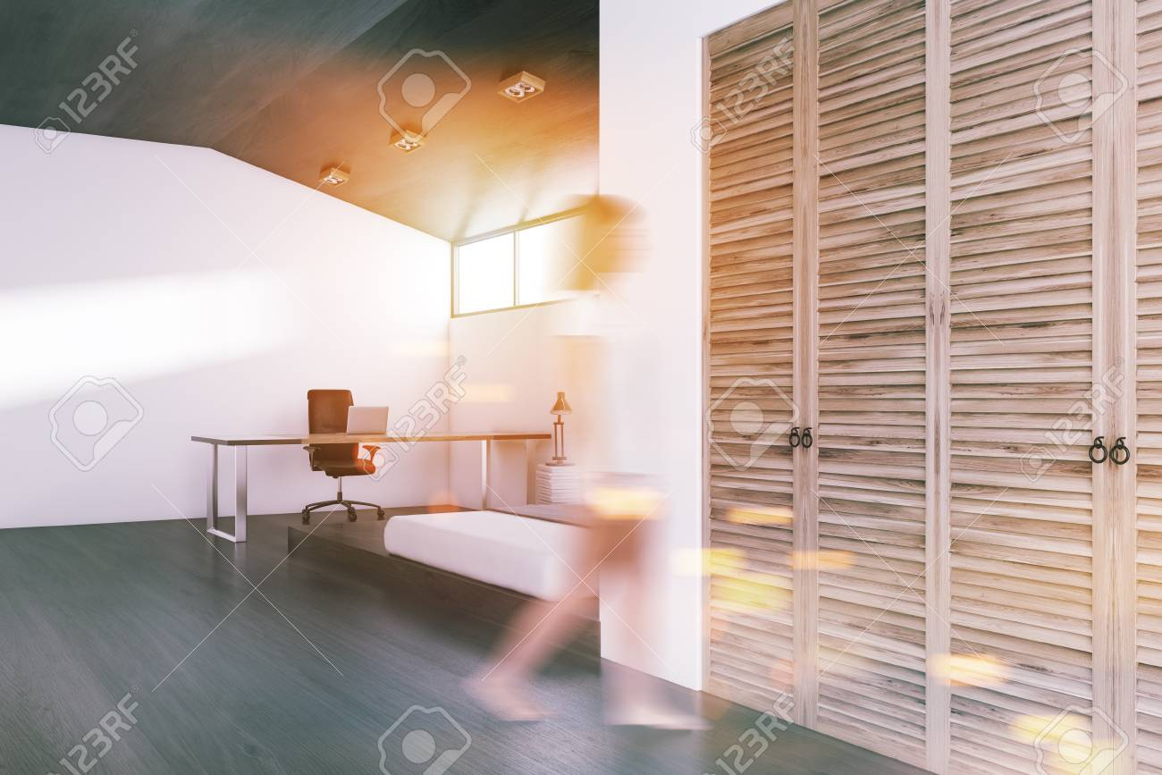 Stock Photo   White Wall Bedroom And Home Office Interior With A Concrete  Floor, A King Size Bed And A Wardrobe. A Computer Desk. A Woman 3d  Rendering Mock ...