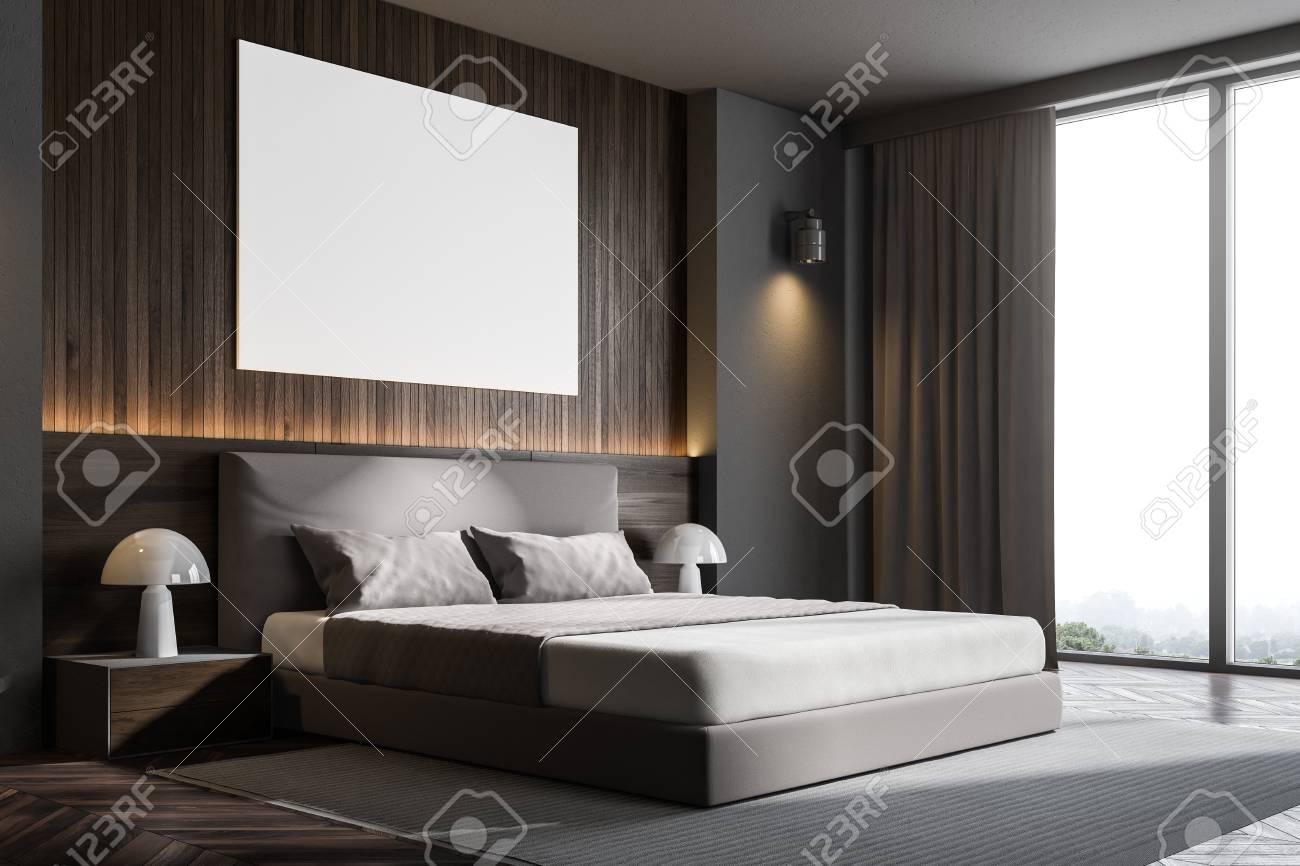 Dark wooden wall loft bedroom or a luxury hotel room corner with..