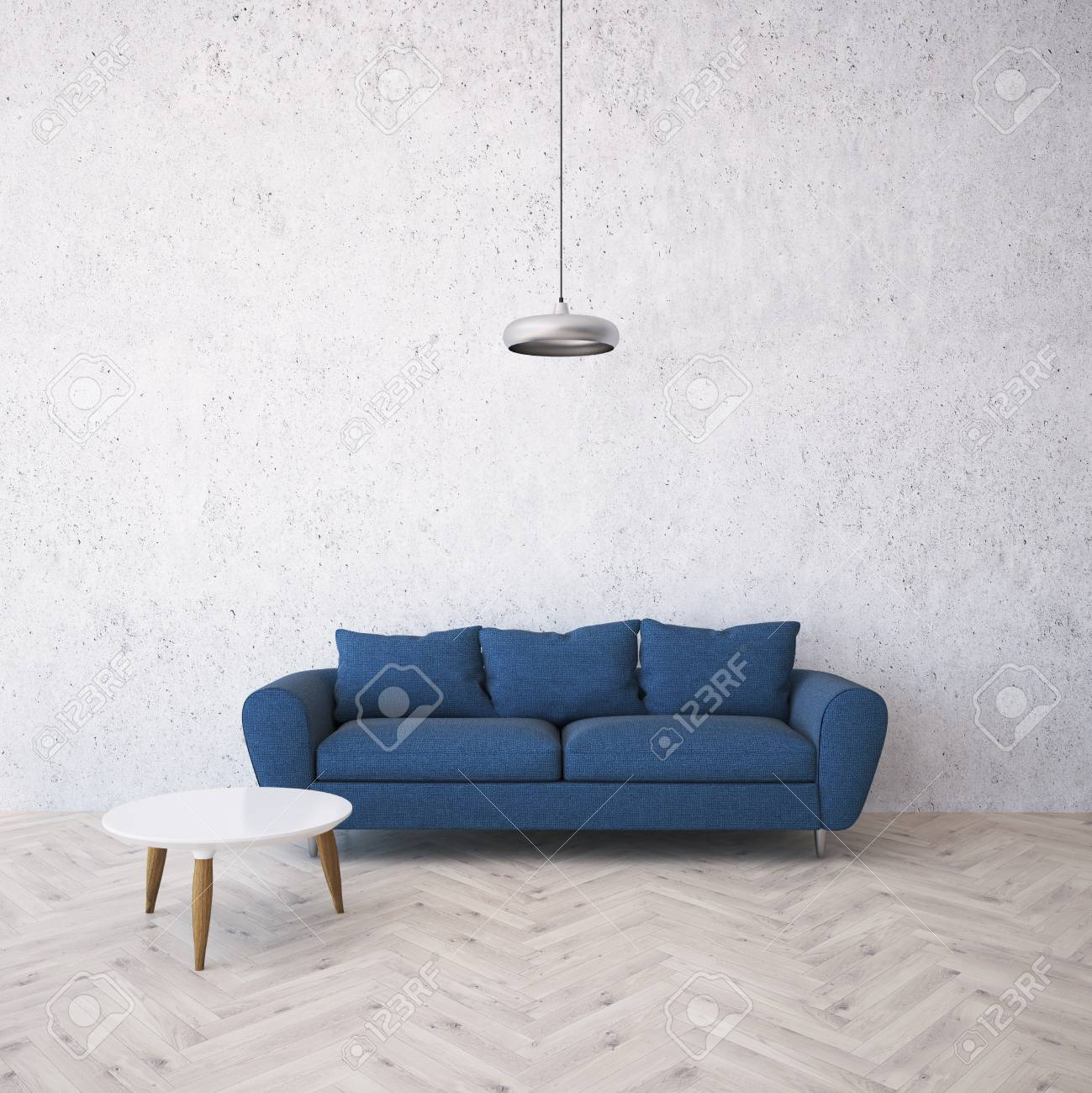 Concrete Wall Panoramic Living Room Interior With A Wooden Floor