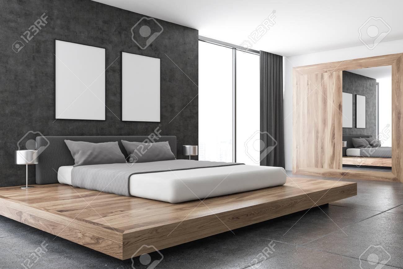 Loft Bedroom Or A Luxury Hotel Room Corner With A Concrete Floor Stock Photo Picture And Royalty Free Image Image 99924037