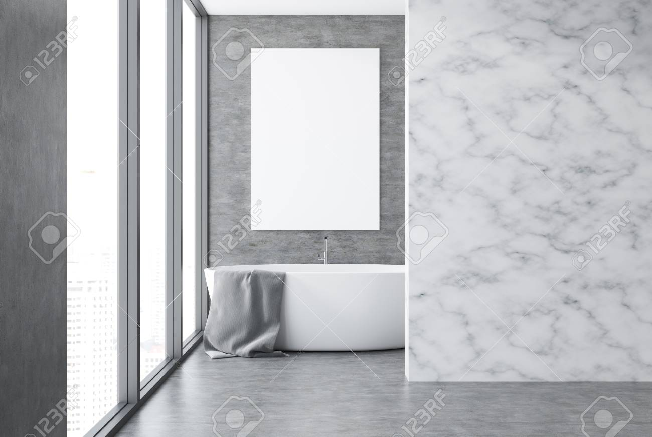 Concrete And Marble Wall Bathroom Interior With A Concrete Floor Stock Photo Picture And Royalty Free Image Image 100436699