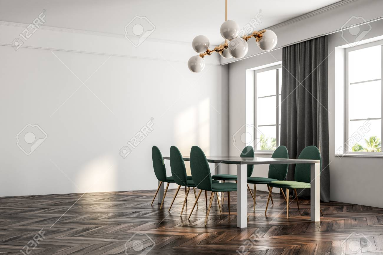 Minimalistic Dining Room Interior With A Dark Wooden Floor White