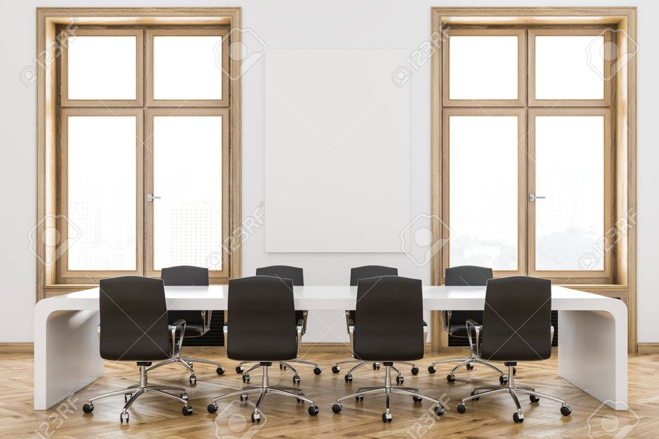 Interior Of A Luxury Meeting Room With White Walls, Wooden Window ...