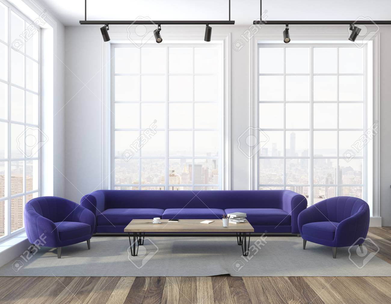 Loft Living Room Interior With White Walls A Wooden Floor A