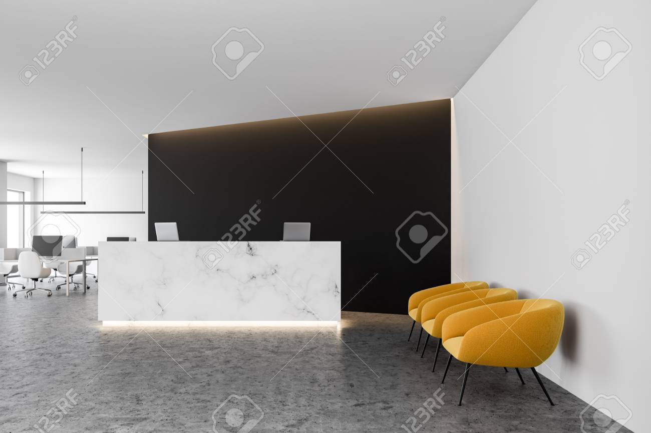 office reception table. Stock Photo - White Marble Office Reception Table With Two Computers Standing In A Modern Company Lounge Black Wall And An Open Space Room The