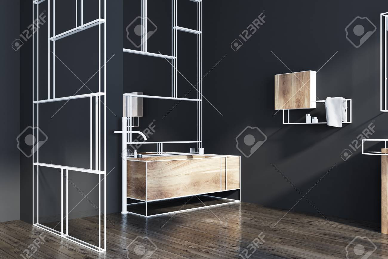Futuristic Bathroom Corner With Black Walls, A Wooden Bathtub, A Mirror And  A Glass