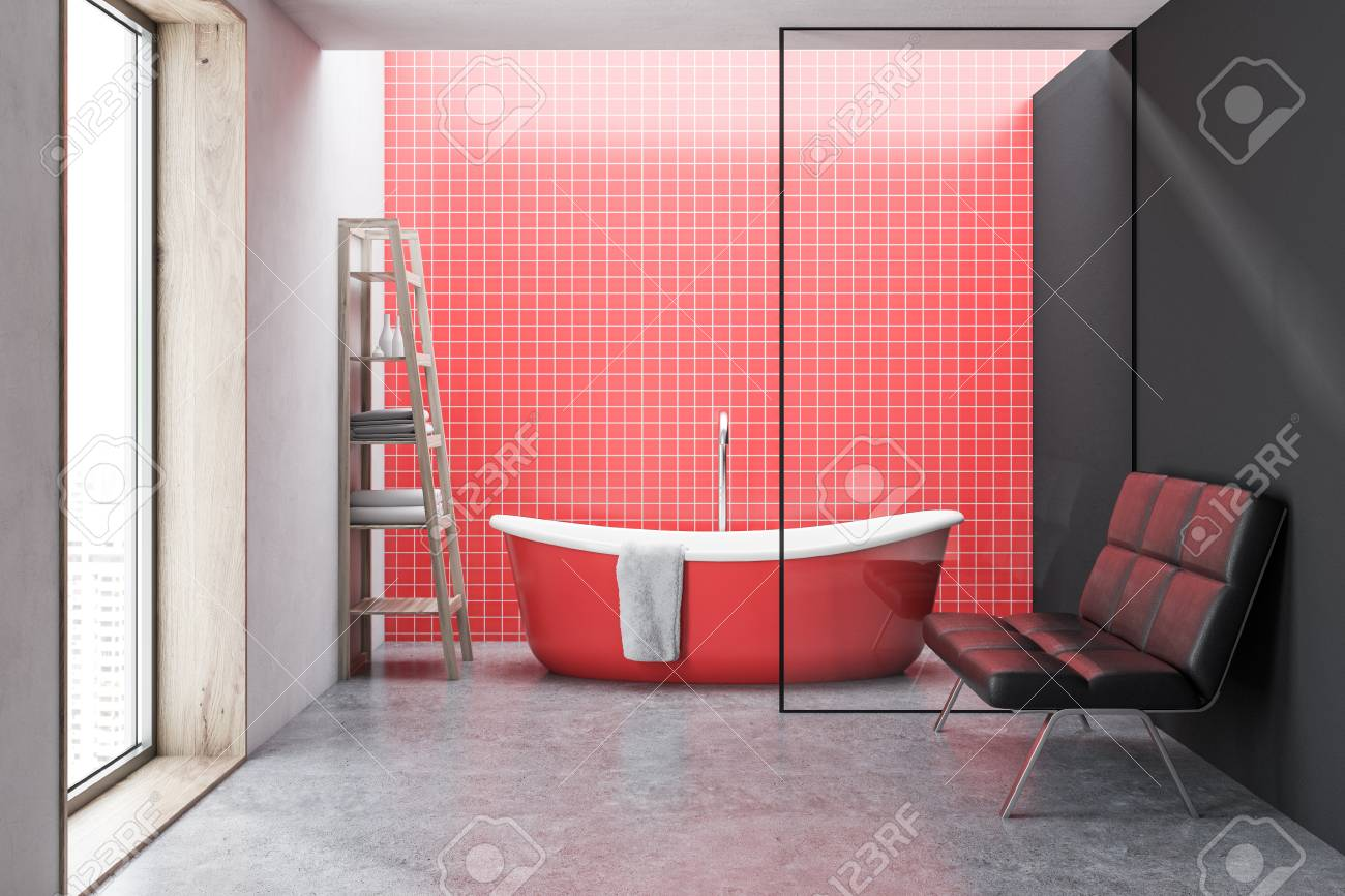 Red Tiled Bathroom Interior With A Red Bathtub A Large Window Stock Photo Picture And Royalty Free Image Image 102011534