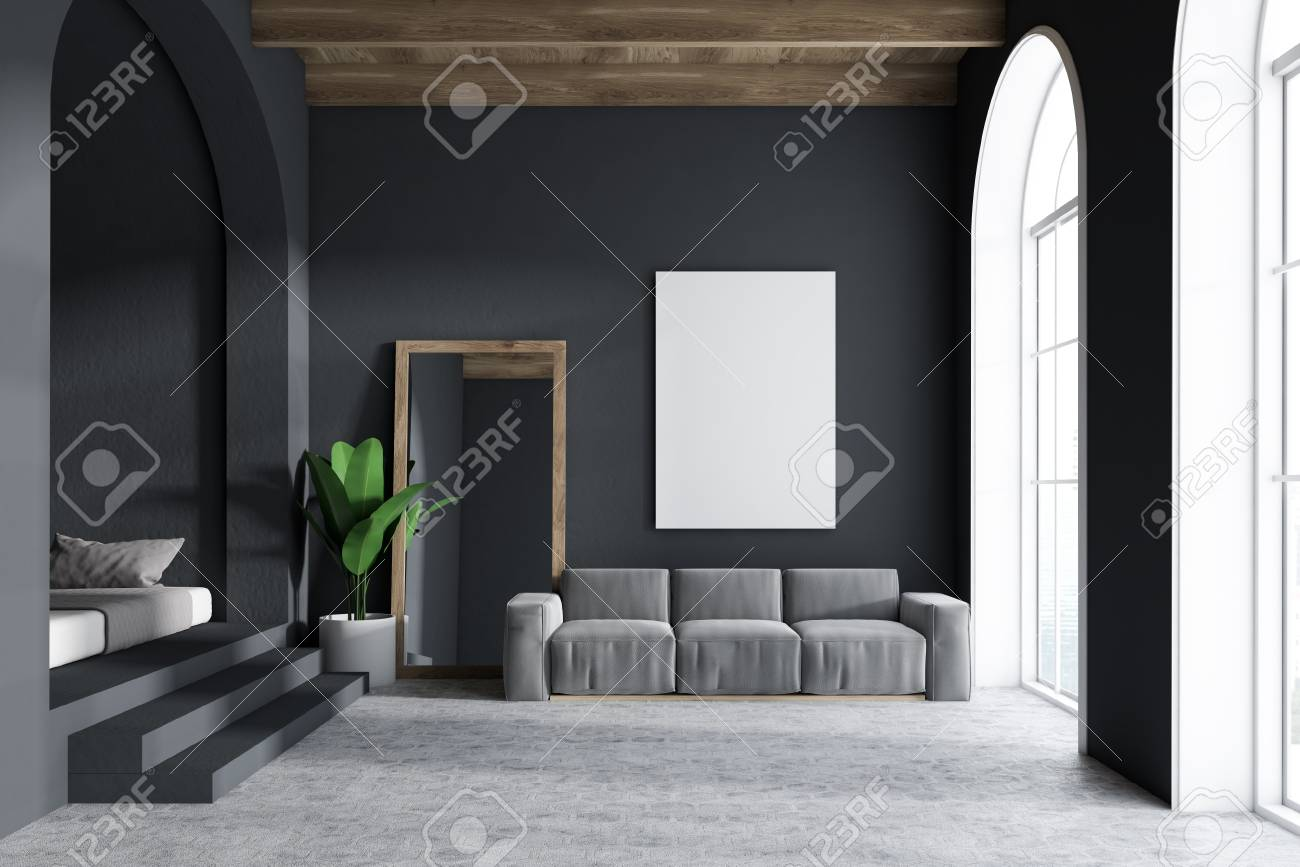 Gray sofa living room interior with dark gray walls, arched windows,..