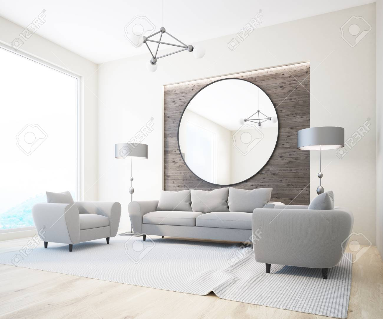 Luxury Gray Sofas And Armchairs Standing In A Scandinavian Style