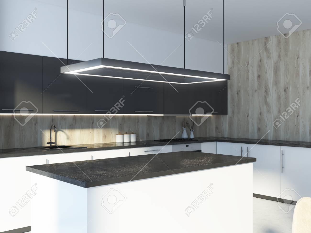 Black Kitchen Island Standing Near White And Gray Countertops In A