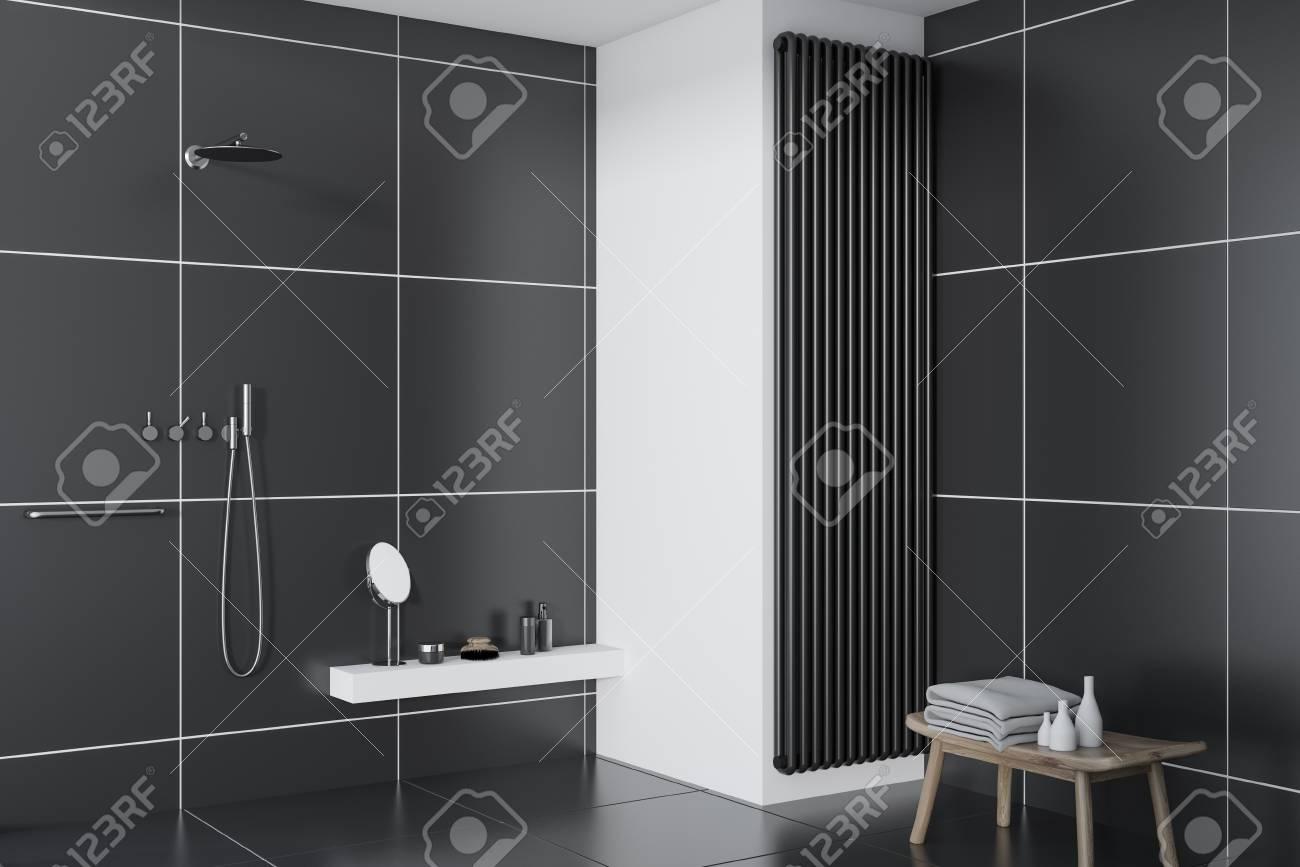 Banque dimages black tile bathroom interior with a black tile floor and a shower concept of a cozy home 3d rendering mock up