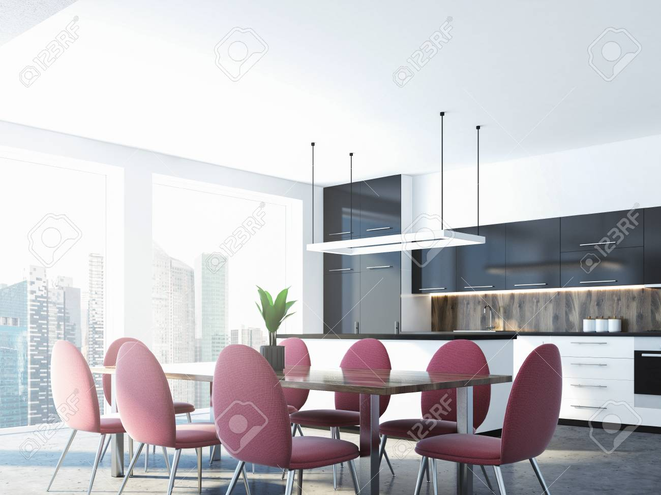 Nice Pink Chairs Standing Around A Dining Room Table In A Studio With Panoramic  Windows And A