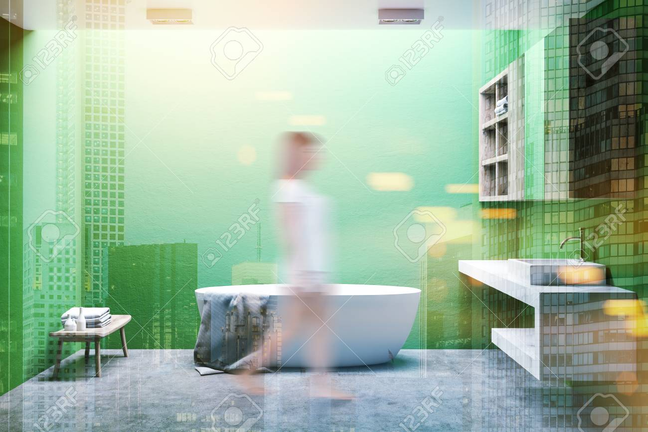 Minimalist Bathroom Interior With Light Green Walls, A Concrete ...