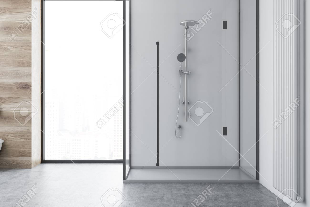 Stock Photo   White Bathroom Interior With A Concrete Floor, A Loft Window  And A White Shower Stall. 3d Rendering Mock Up