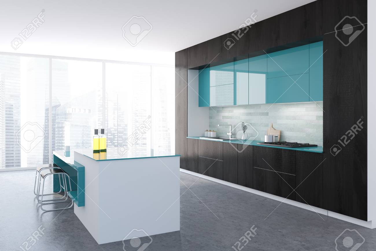 Black And White Panoramic Kitchen Interior With A Concrete Floor ...
