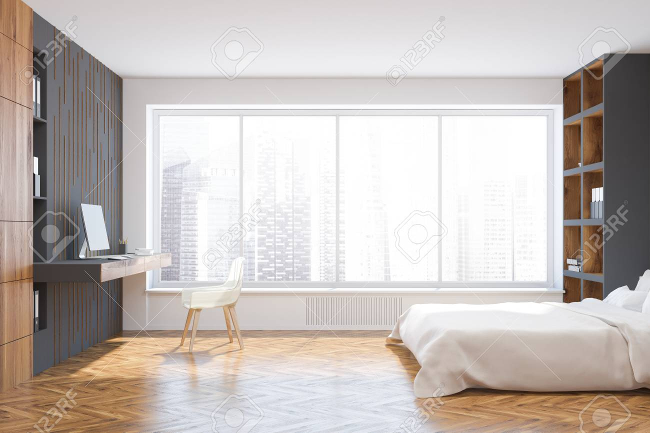 White And Gray Wall Bedroom Corner With A White Bed Standing