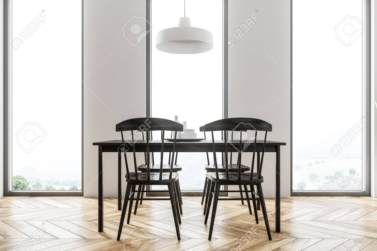 Stock Photo   White Scandinavian Style Dining Room With A Wooden Floor, A  Black Table With Chairs And Loft Windows. Side View. 3d Rendering Mock Up