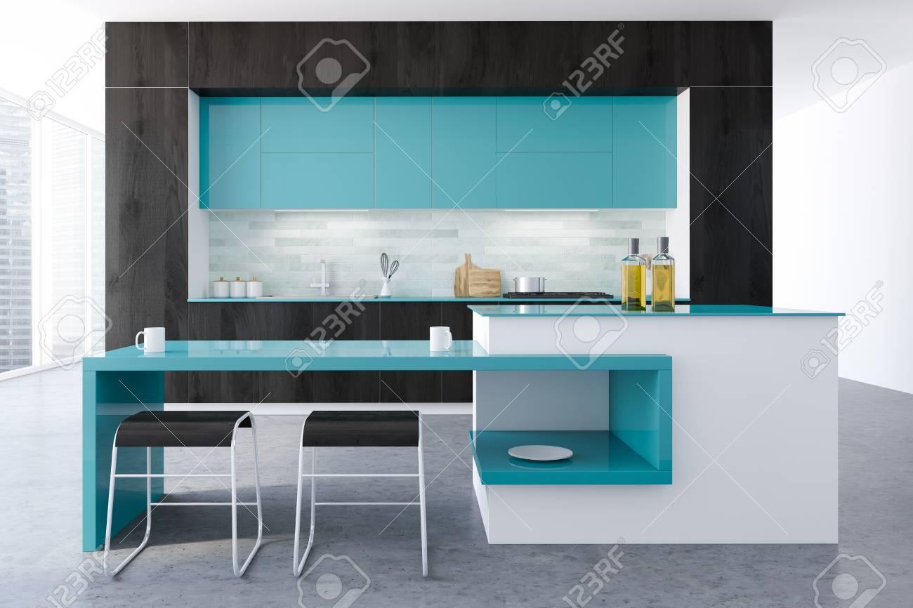 Black And White Original Kitchen Interior With A Concrete Floor ...