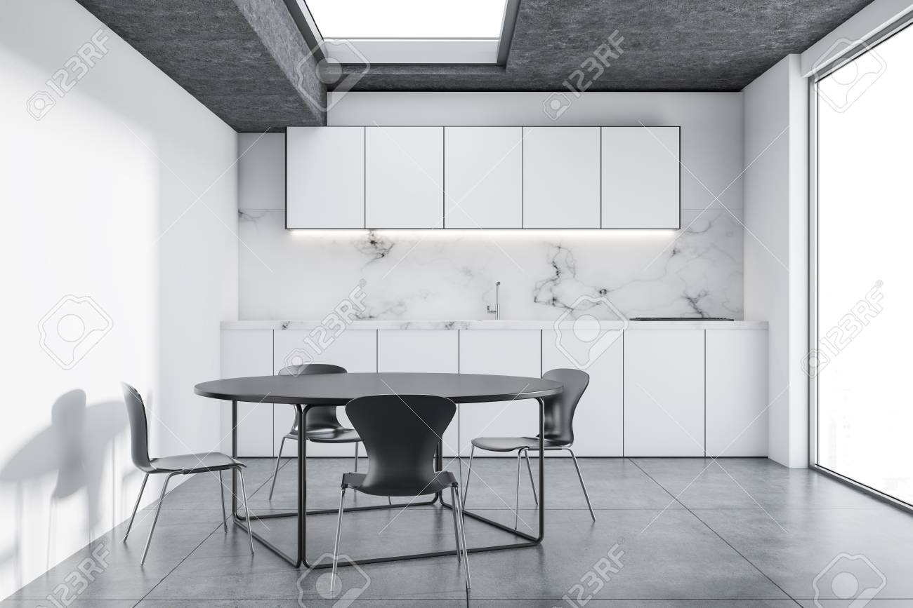Marble Kitchen Interior With White Cabinets A Loft Window A Stock Photo Picture And Royalty Free Image Image 103721434