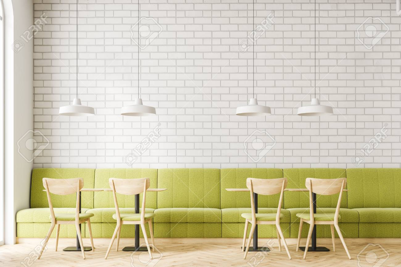 Industrial Style Cafe Interior With White Brick Walls A Wooden Stock Photo Picture And Royalty Free Image Image 103765402