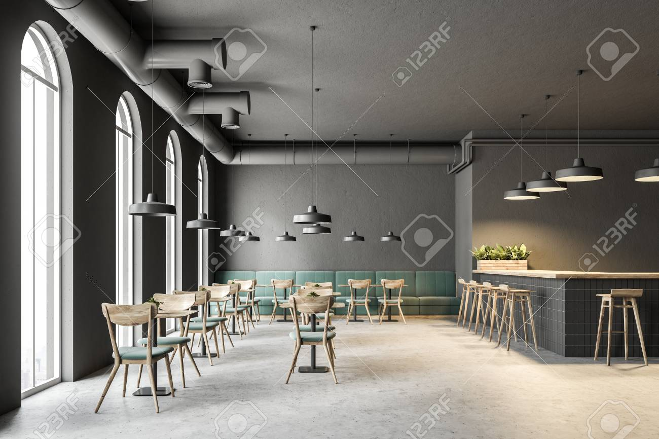 Industrial style cafe interior with dark gray walls, a concrete floor, arched windows and wooden tables with chairs. Green sofas. 3d rendering mock up - 103778177