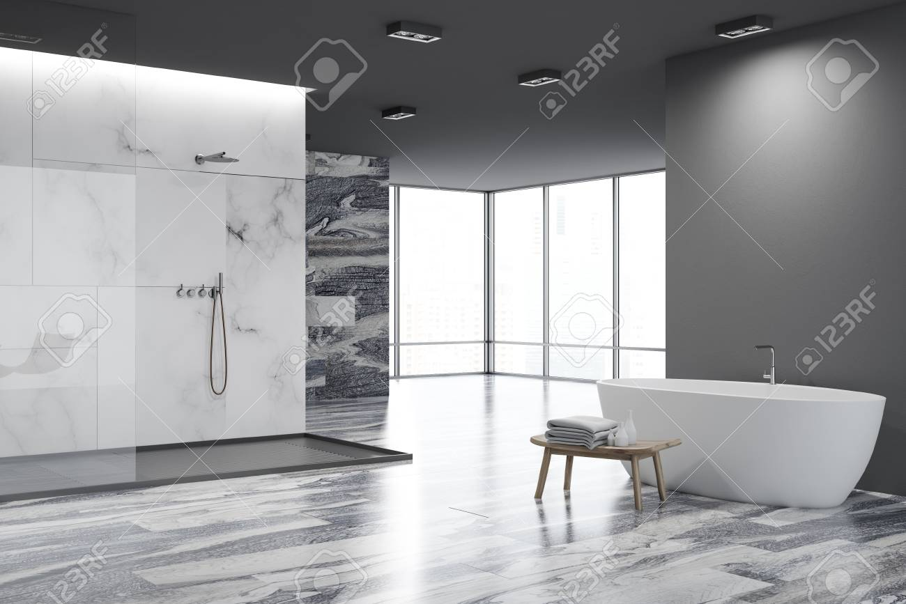 White And Black Marble Luxury Bathroom Corner With A Shower Stall ...