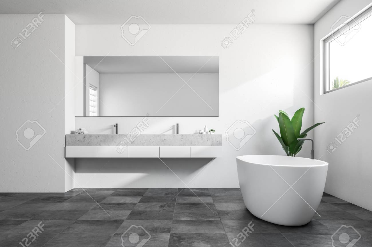 Luxury Bathroom Interior With White Walls A Tiled Black Floor Stock Photo Picture And Royalty Free Image Image 104237096