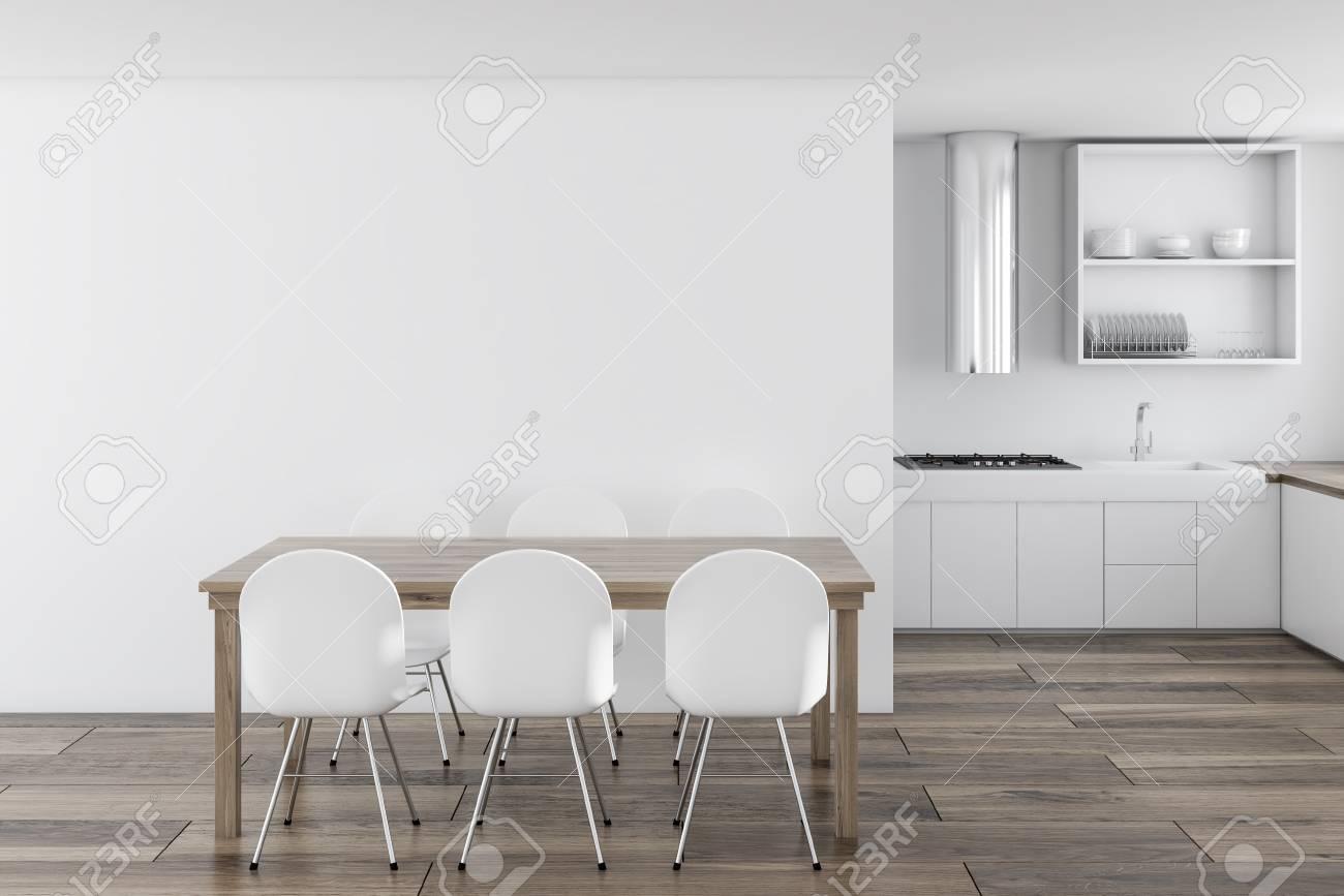 Terrific Scandinavian Style Kitchen Interior With White Walls A Wooden Theyellowbook Wood Chair Design Ideas Theyellowbookinfo