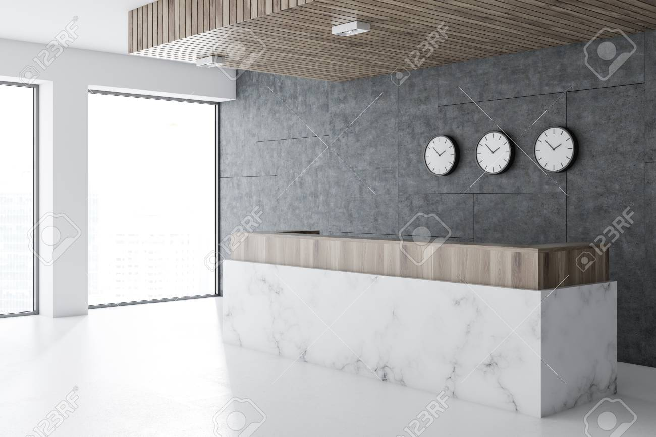 Marble And Wooden Reception Desk Standing In A Modern Office
