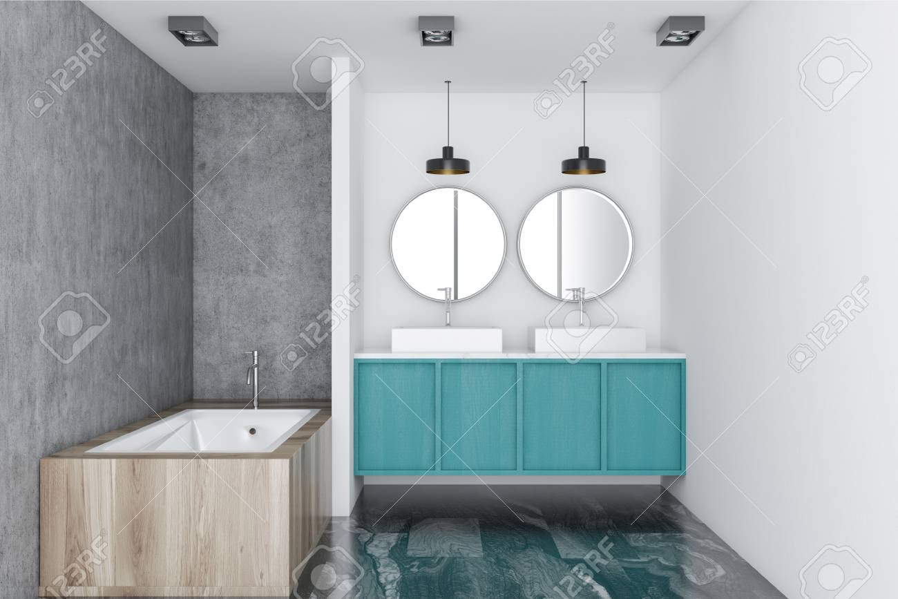 White Luxury Bathroom Interior With A Marble Floor A Blue Double