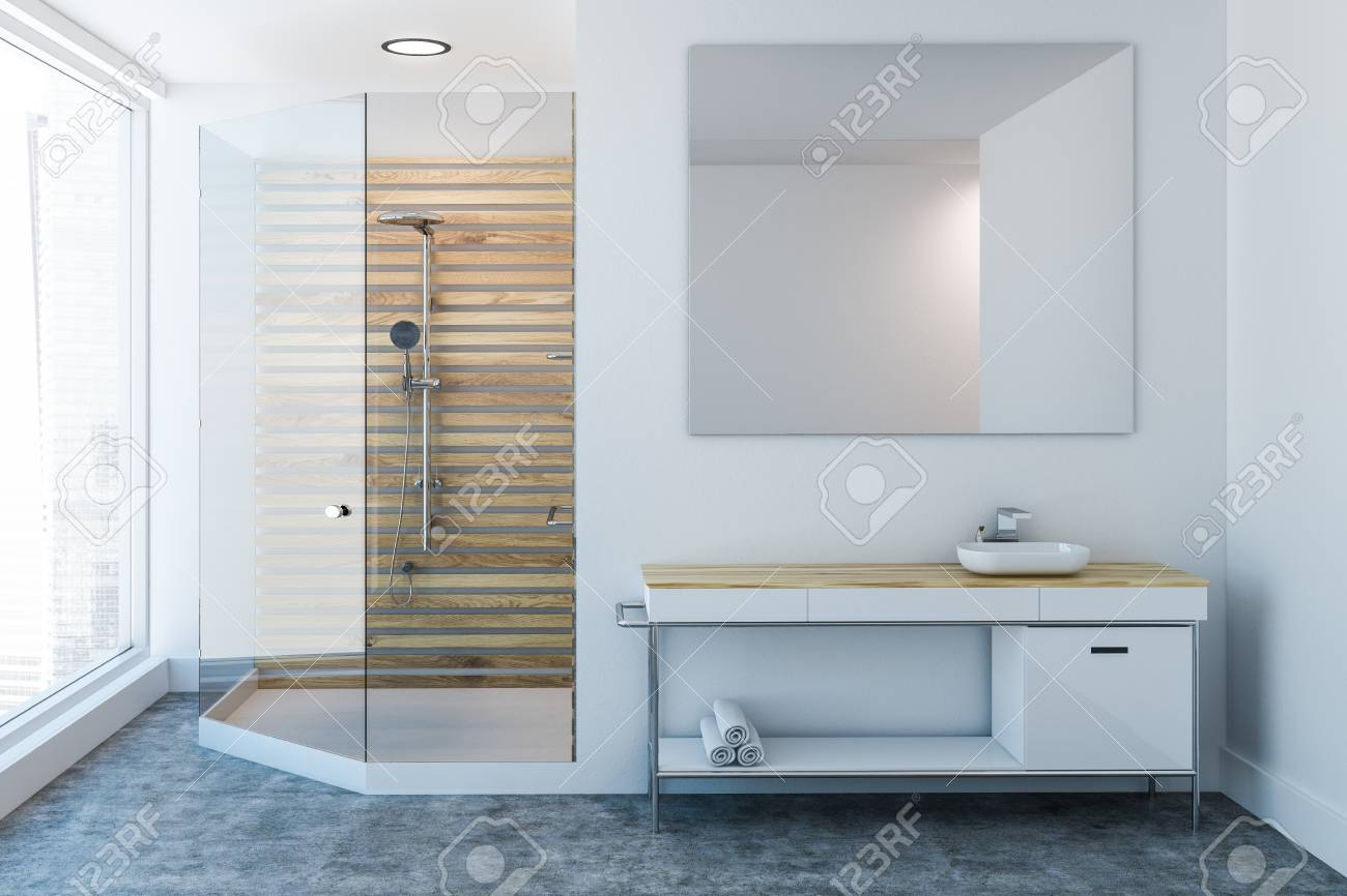 finest selection b1763 c7bcc Luxury bathroom interior with a wooden shower stall, a sink vanity..