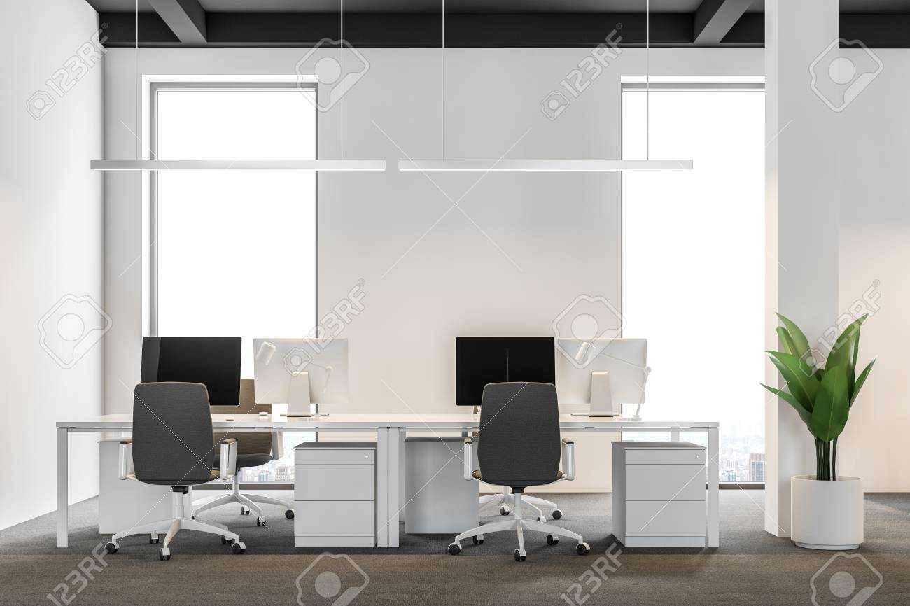 Close up of a modern international company office with white..