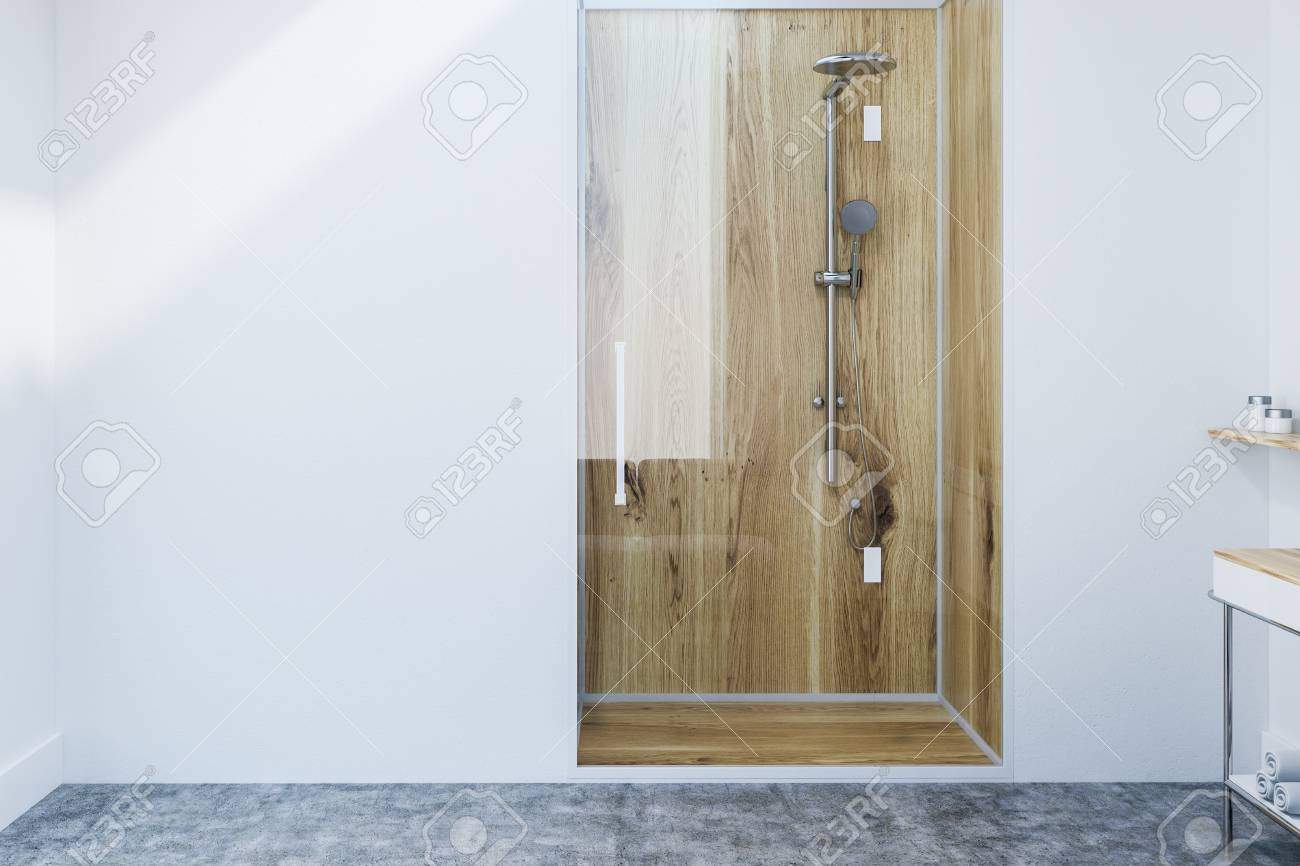 Wooden Shower Stall With A Glass Door In A Minimalistic Bathroom