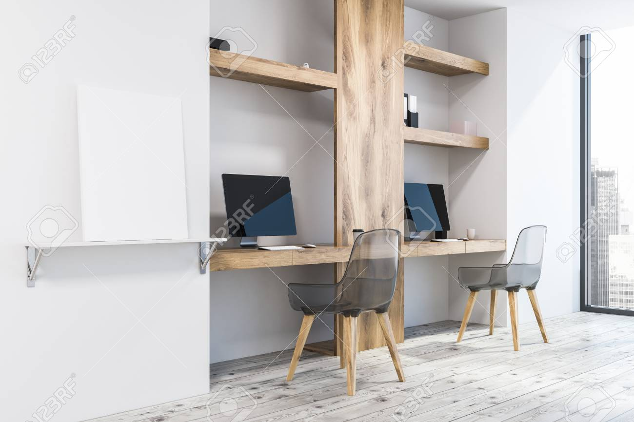 White Wall Home Office Or Small Business Owner Work Space In.. Stock ...