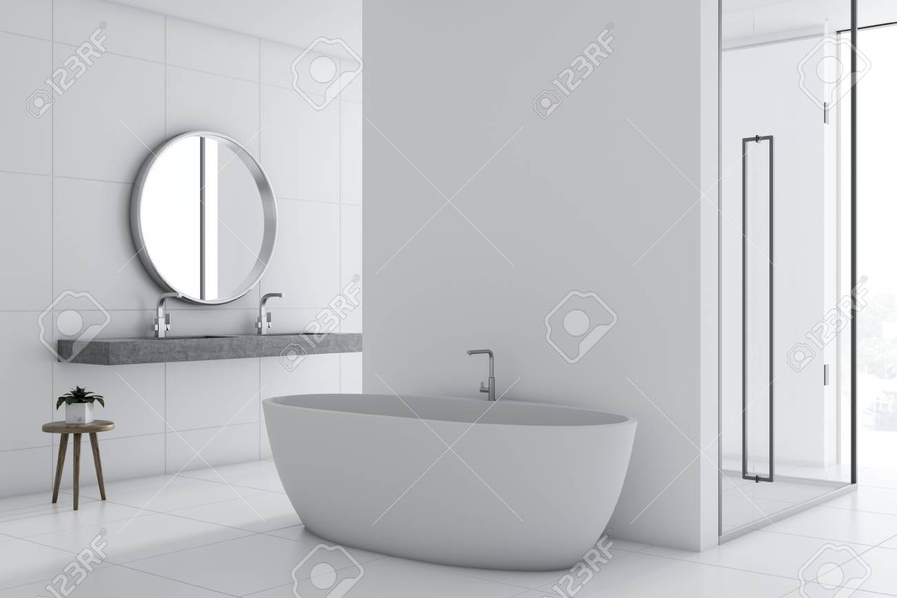White Wall Bathroom Interior With A Nice White Tub A Double