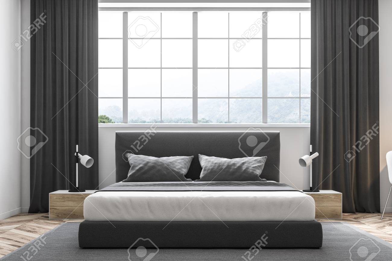 Master Bedroom Interior With White Walls A Carpet On A Wooden Stock Photo Picture And Royalty Free Image Image 105742825