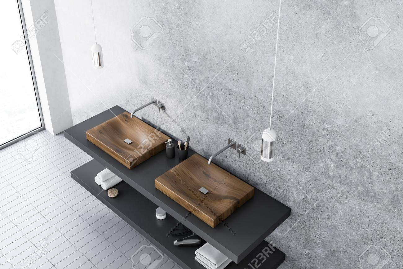 Top View Of A Wooden Double Sink Standing On A Gray Shelf In Stock Photo Picture And Royalty Free Image Image 105742911